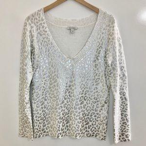 Boston Proper Silver Leopard Print Sweater Medium